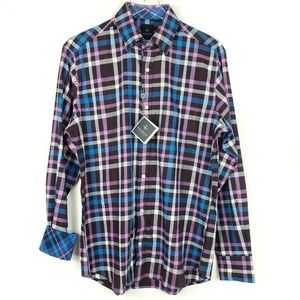 Tailorbyrd Flip Cuff Checkered Plaid dress shirt M